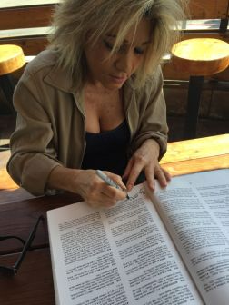 Betsy signing The Book