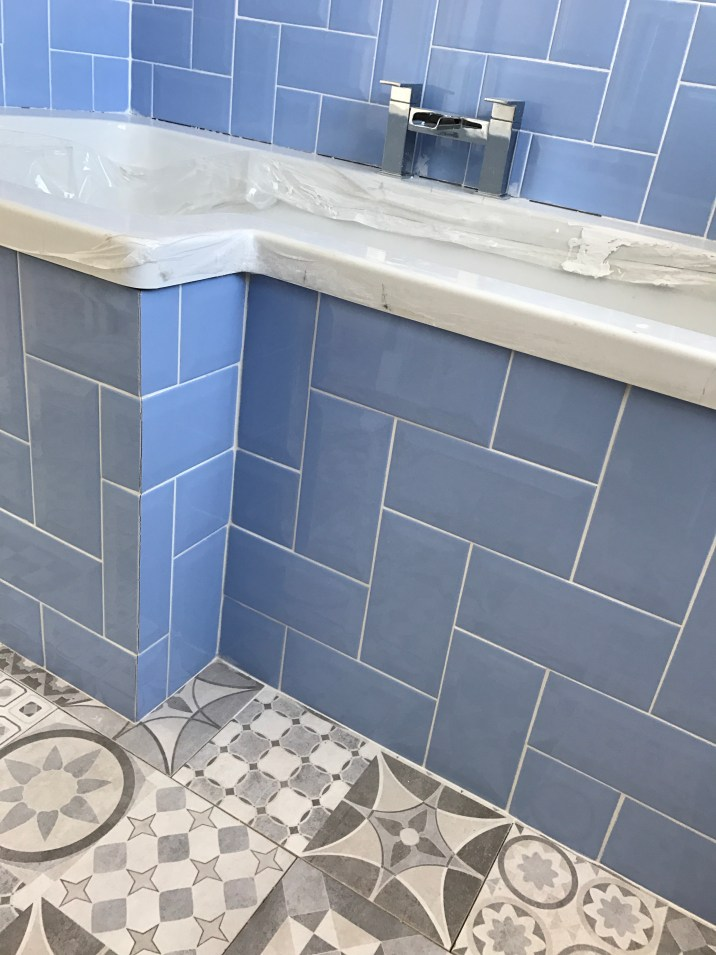 Blue Subway Tiled Bath