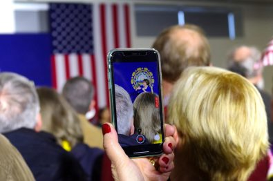 Democratic candidate Amy Klobuchar at rally held in SNHU in Derry, New Hampshire on February 9, 2020.