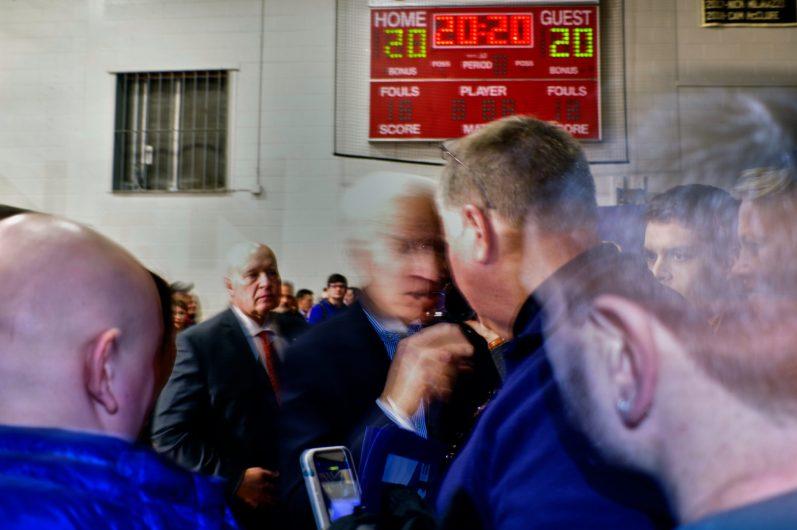 Democratic candidate Joe Biden rallies his supporters at Alvira High School, Londonderry, New Hampshire on February 9, 2020