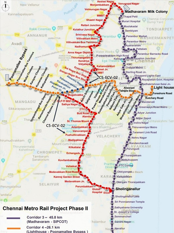 ChennaiMetroC5ECV02Map Kolkata Metro