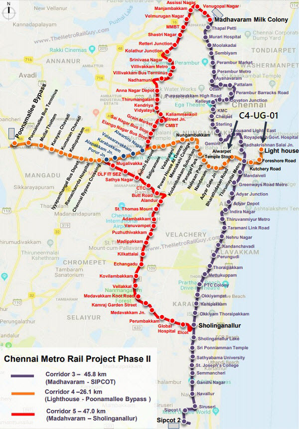 ChennaiMetroC4 UG 01Route Kolkata Metro
