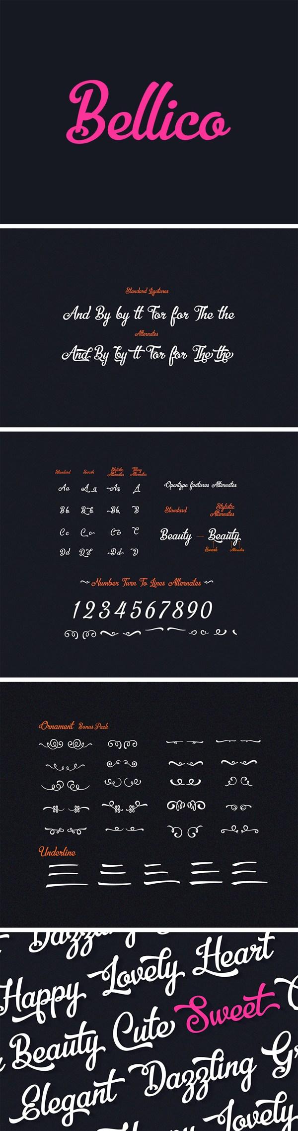 Free Font Bellico Typeface + Bonus Vectors
