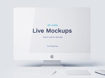 8 White Matte Apple Devices Mockups