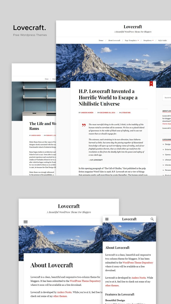Lovecraft: A Beautiful Two-column Free WordPress Theme