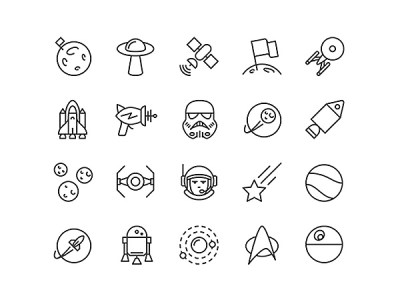 Free Space iOS Line Icons