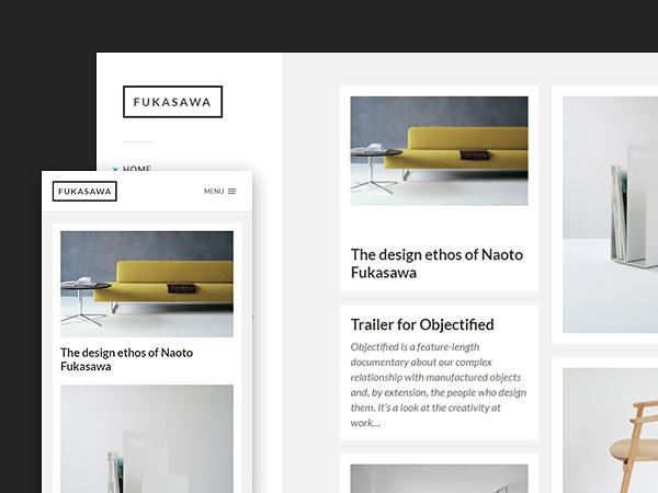 Fukasawa: A minimal masonry free Wordpress theme