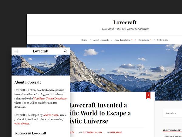 Lovecraft: A Beautiful Two-column Free WordPress Theme