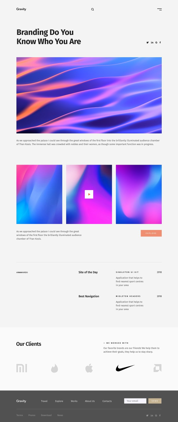 Gravity - Agency Portfolio Free Website Template - Work Details