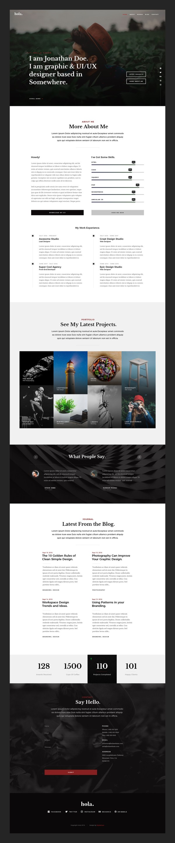Hola -  Modern and Stylish vCard Free PSD Template 02