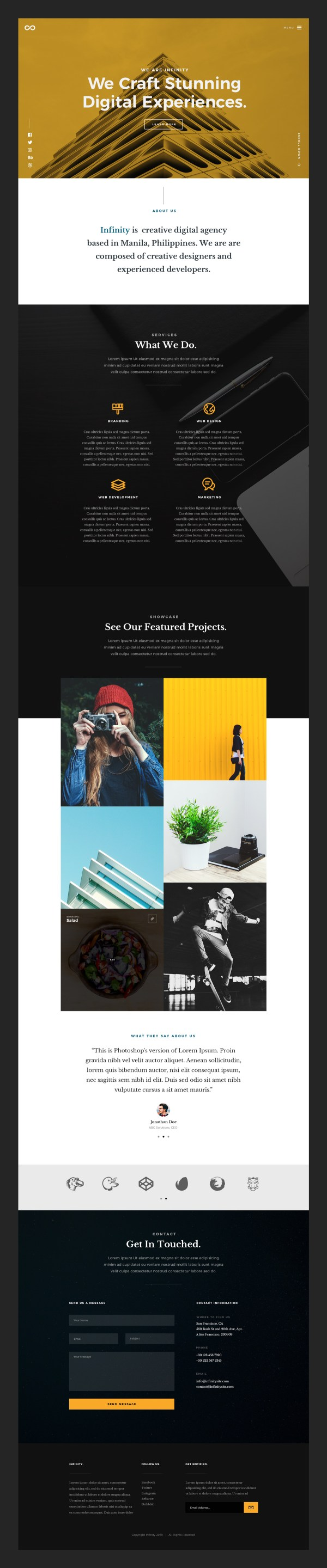 Infinity - Agency Portfolio Free PSD Website Template 02