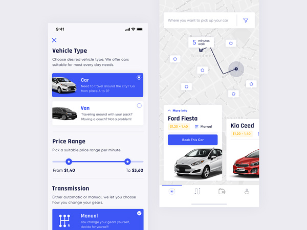Vehirent Free UI Kit