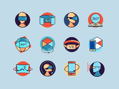 48 Colorful Virtual and Augmented Reality Free Icons