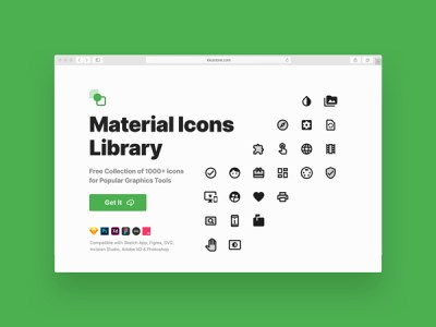 Material Icons Library - a Set of 1000+ Free Icons for Popular Graphics Tools