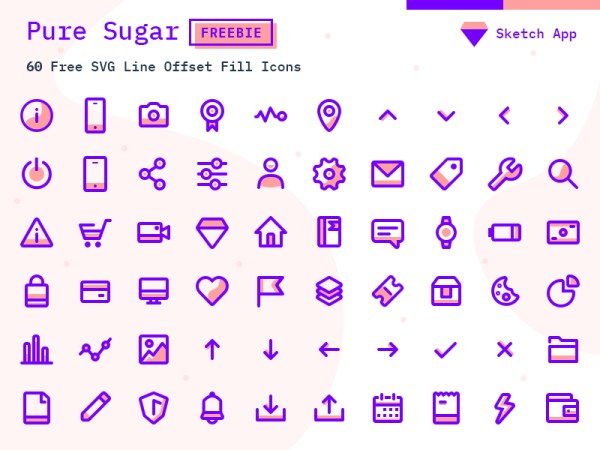 Pure Sugar - 60 Free SVG Icons Pack