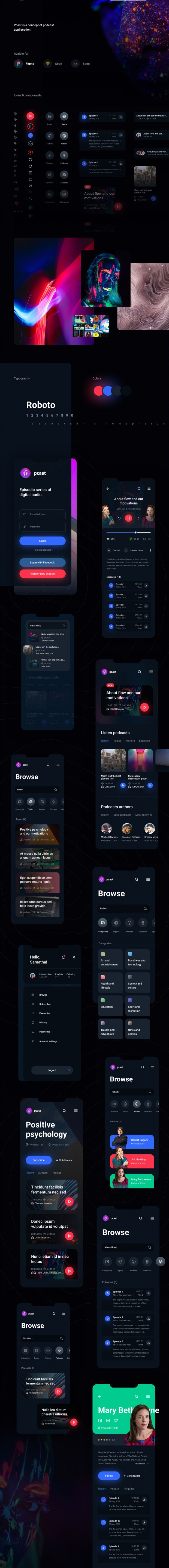 Pcast – Mobile Podcast App Free UI-Kit