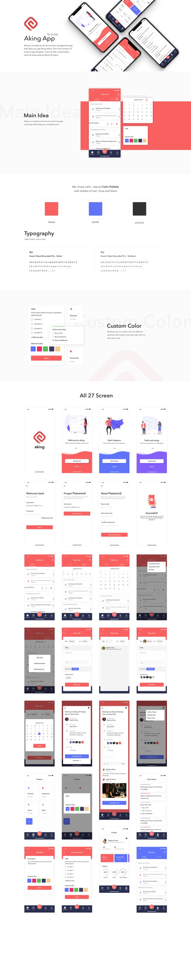 Aking Todo List App Free UI Kit