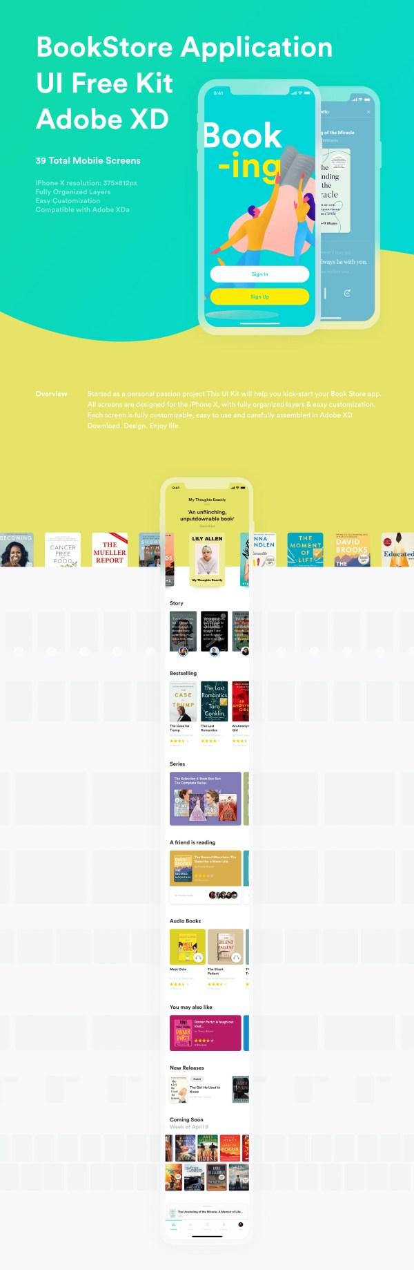 BookStore App Free UI Kit 01