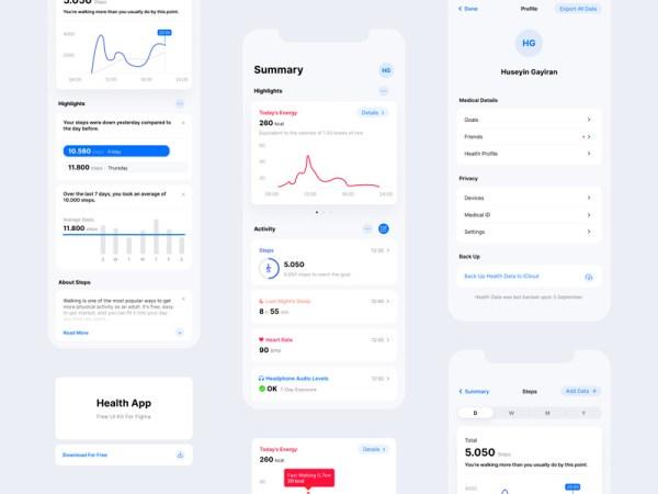 Health App Free UI Kit