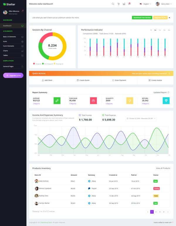 Stellar Admin — Free Bootstrap Dashboard 02
