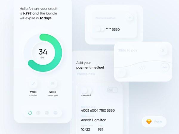 Telco Skeumorph App Free UI Kit