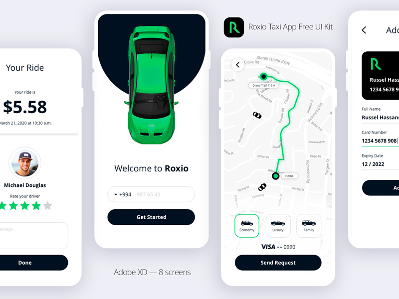 Roxio — Taxi App Free UI Kit