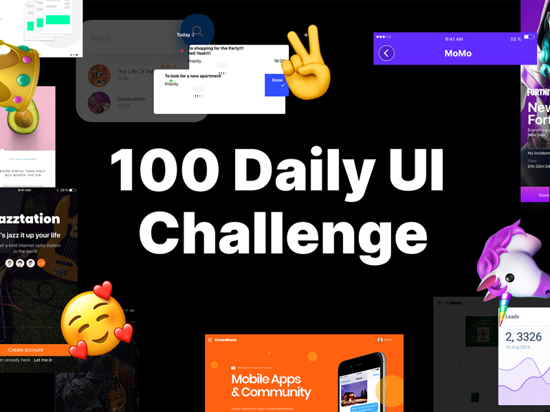 100 Daily UI Challenge — Big Collection of UI Elements