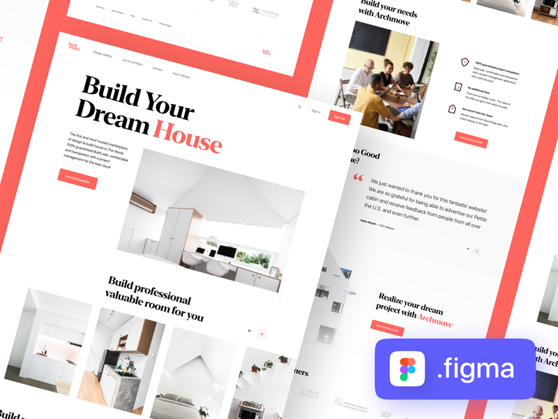 Archmove — Architecture Free Landing Page for Figma