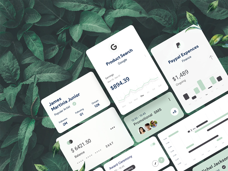 Card UI Components Freebie for Adobe XD