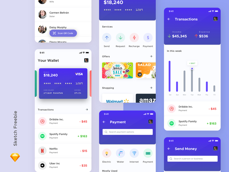 Free Mobile Wallet Concept for Sketch