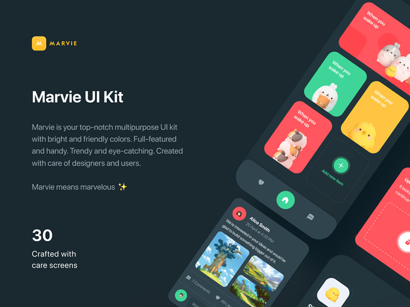 Marvie iOS App Free UI Kit