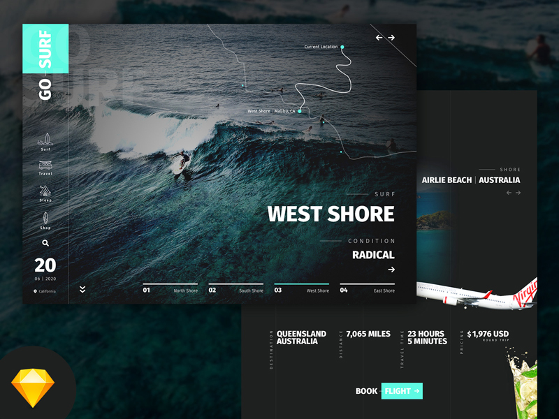 GoSurf Sketch Mockup Free Website Template