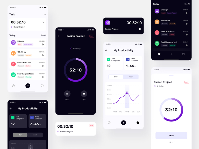 TimePad Time Tracker Free UI Kit