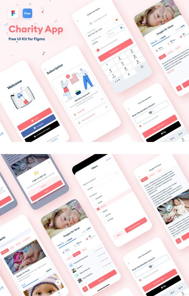 Charity App Free UI Kit for Figma