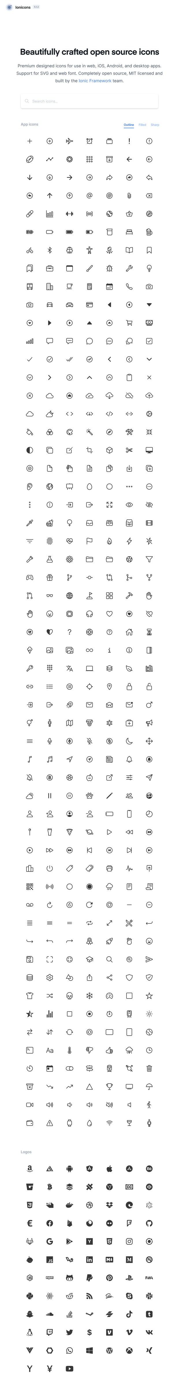 Ionicons Open Source Icon set