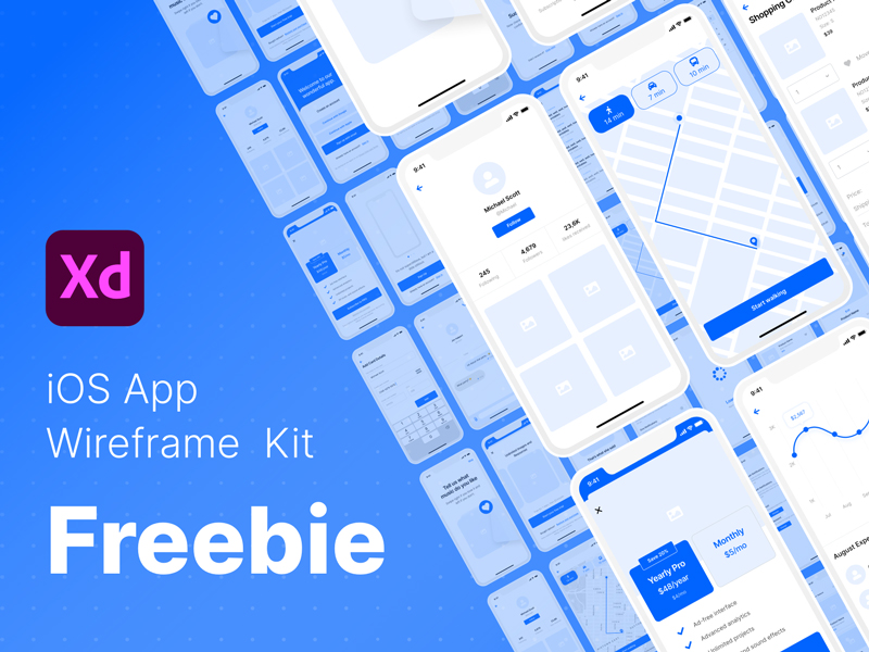 iOS App Wireframe Kit Freebie for Adobe XD