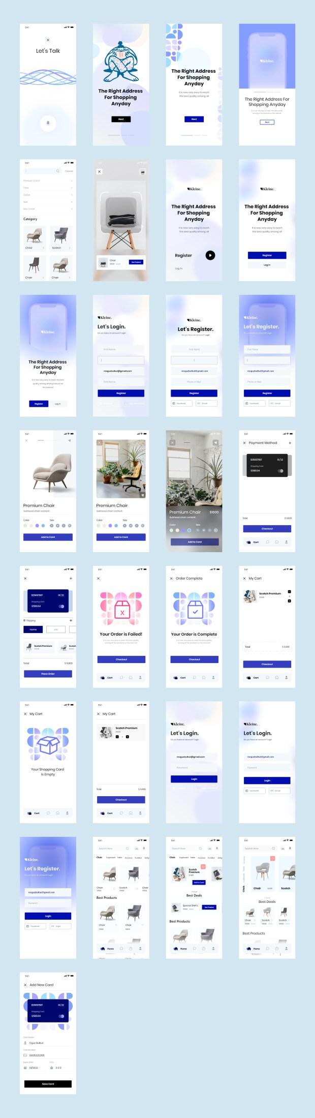 Kleine E-Commerce Free UI Kit for Adobe XD