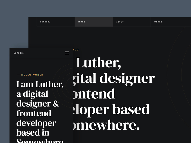 Luther — Free One Page Resume HTML Website Template