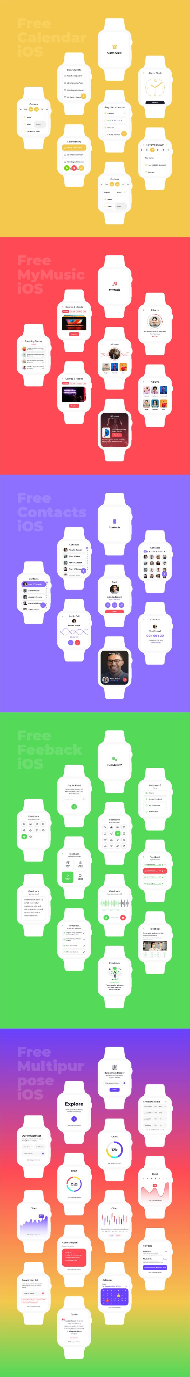 Apple Watch iOS Collection Free UI Kit