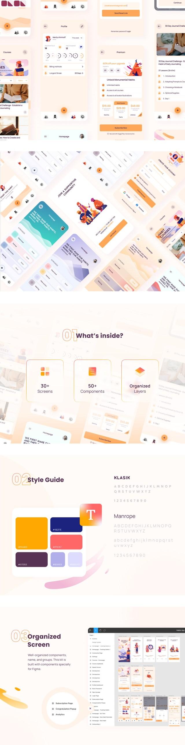 Monumental Habits App Free UI Kit
