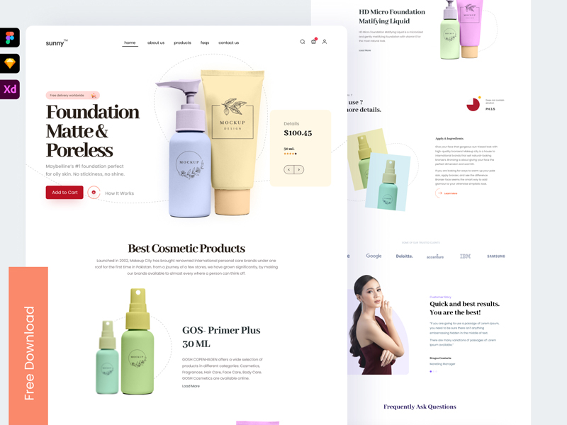 Free Landing Page UI for Ecommerce Website