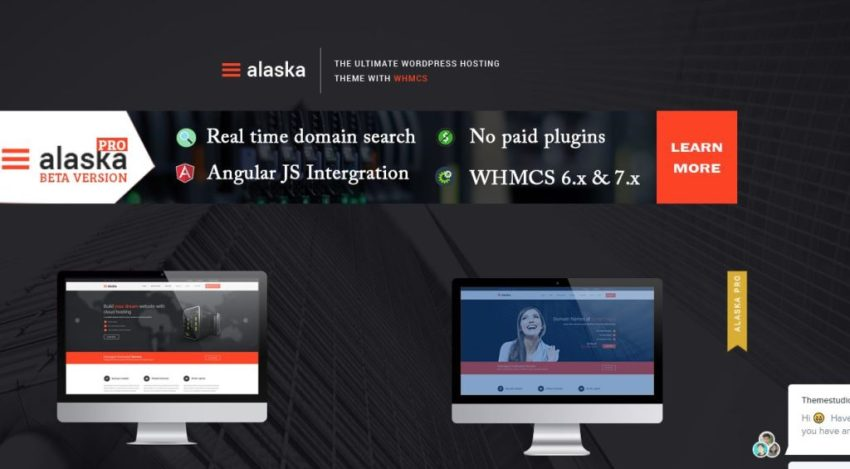 alaska-10 Best Hosting WordPress Themes With Full WHMCS Manager Integration