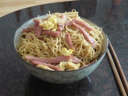 Homemade egg and spam chow mei fun. Simple, hearty weekend breakfast.