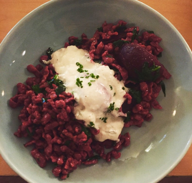 Beet spaetzle, Basic Kitchen, Charleston, SC