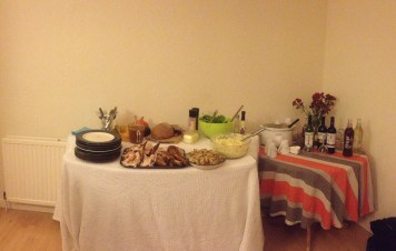 Our spread! Notice my creative table... two ironing boards with a blanket over them. Welcome to grad life.