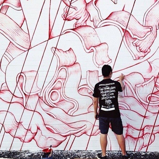 Day 3 Recap: New mural progress for #powwowhawaii. Photo by @mllekat. @rvca @montanacans @flexfit @hawaiianairlines #rvcatwfsl #pmalohatour