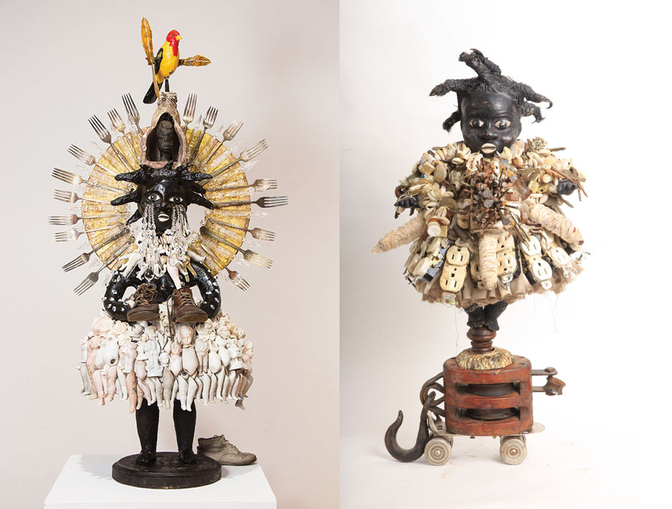 L-R, One of German's power figures from Concept Art Gallery's 2015 exhibit Vanessa German: The Ordinary Sacred, Pittsburgh. Vanessa German, Girl on a Skate on a Pulley: Figure to Speak for the Abundance of the Soul, 2011, Wood, plaster, wood glue, water, paint, hair, nails, buttons, shells, old skate, pulley, prayer beads. 20 x 12 x 10 inches
