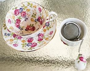 teacup, saucer, infuser