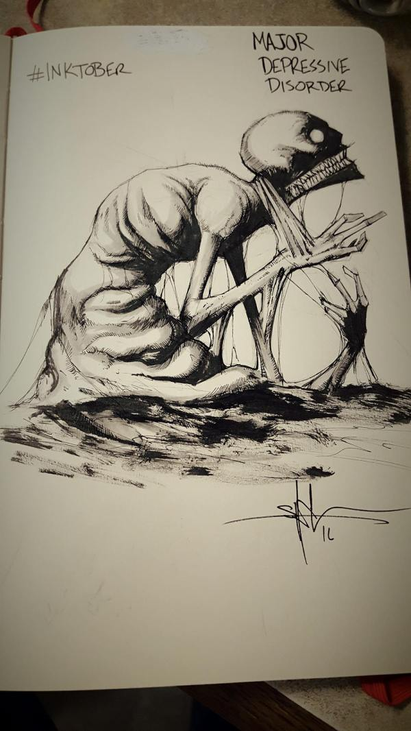Shawn Coss Creates Creepy Drawings Of Mental Illnesses Inktober Mighty