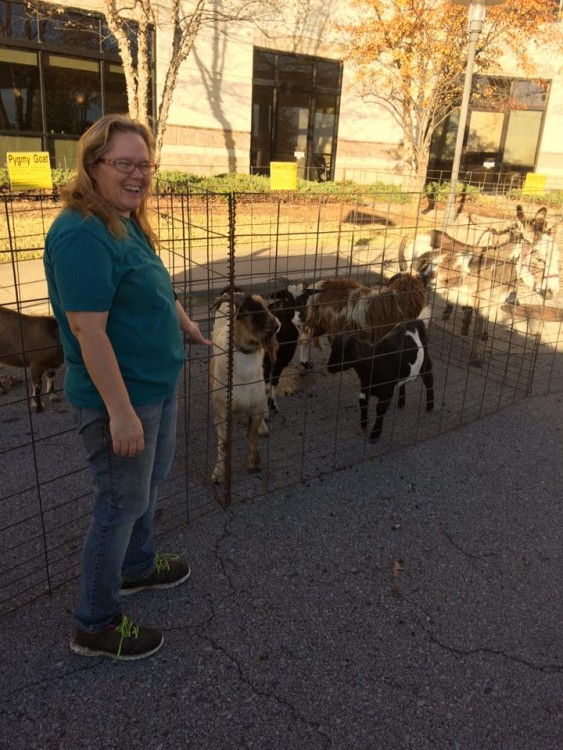 woman standing in front of enclosure with goats